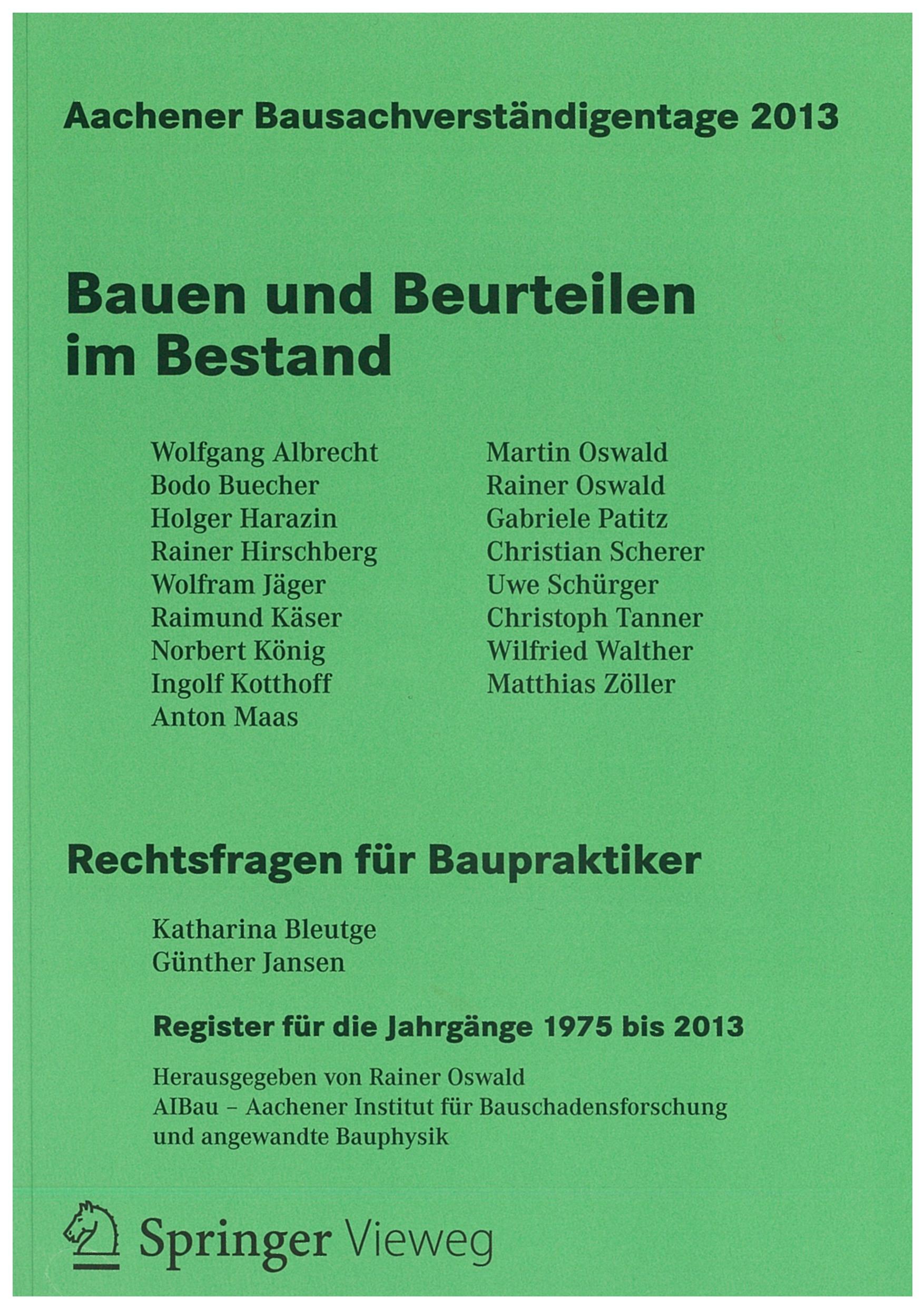 Tagungsband: Bauen und Beurteilen im Bestand - Coverbild