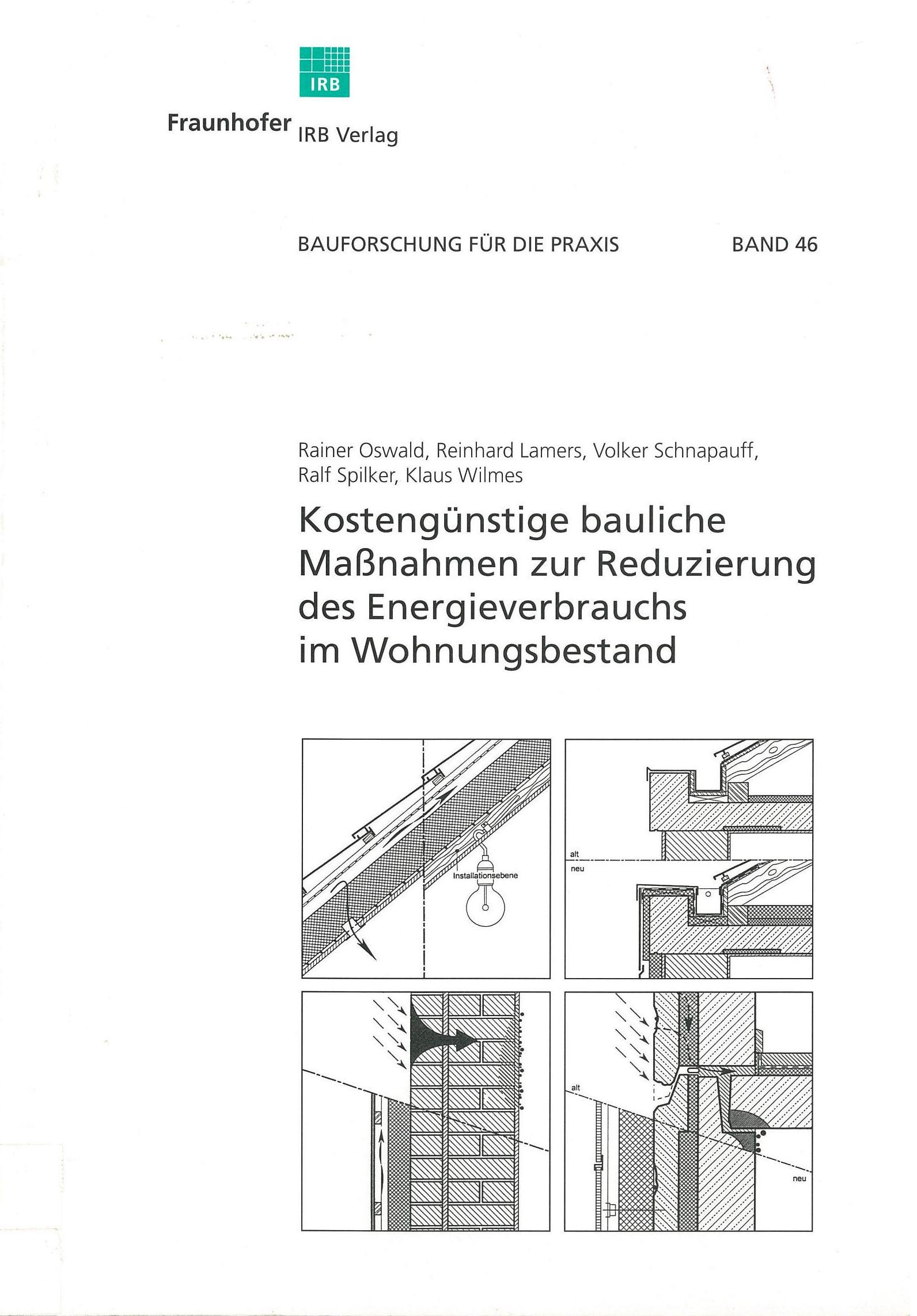 Forschungsbericht: Kostengünstige Maßnahmen zur reduzierung des Energieverbrauchs im Wohnungsbestand - Cover