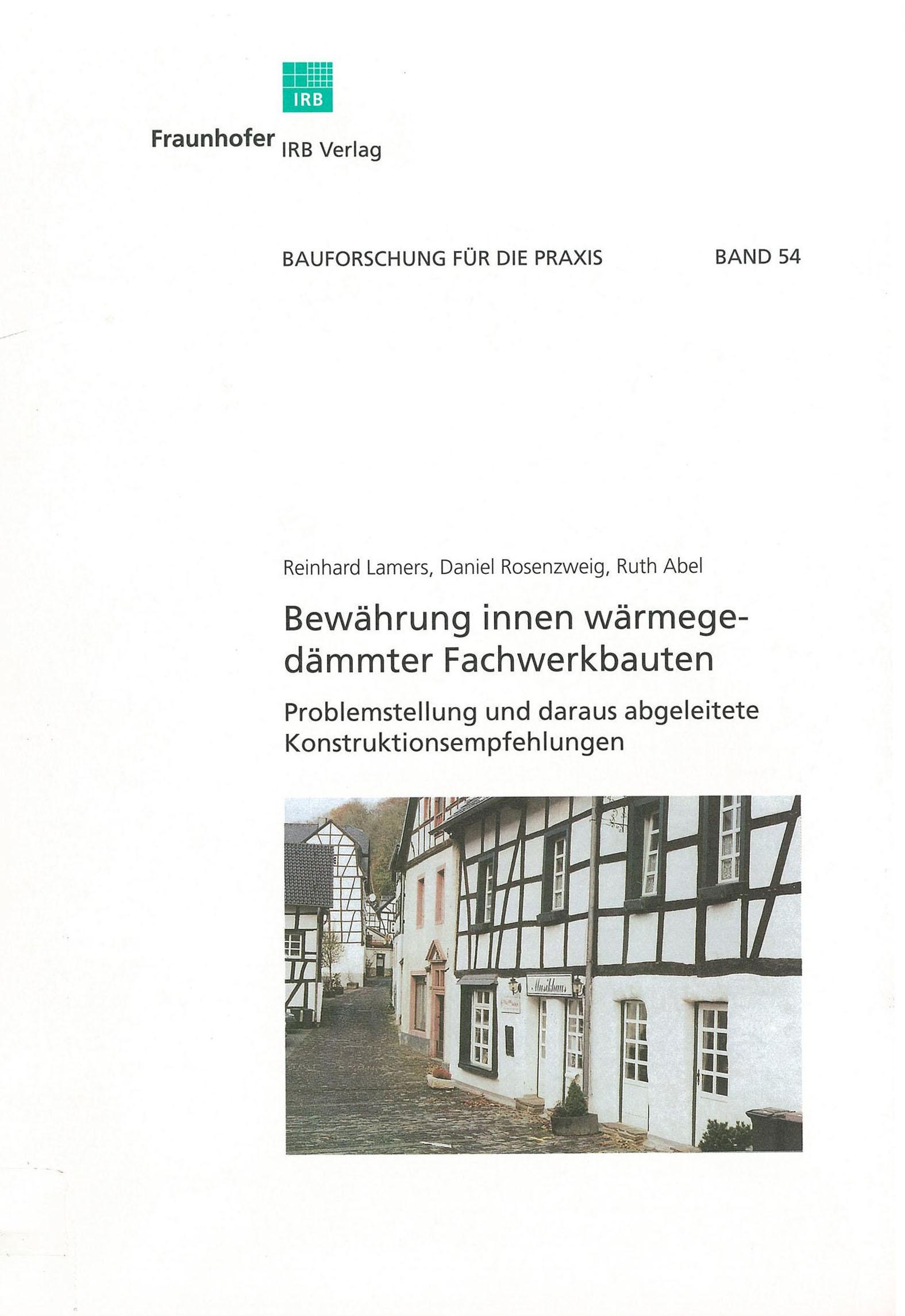 Forschungsbericht: Bewährung innen gedammter Fachbauten - Cover