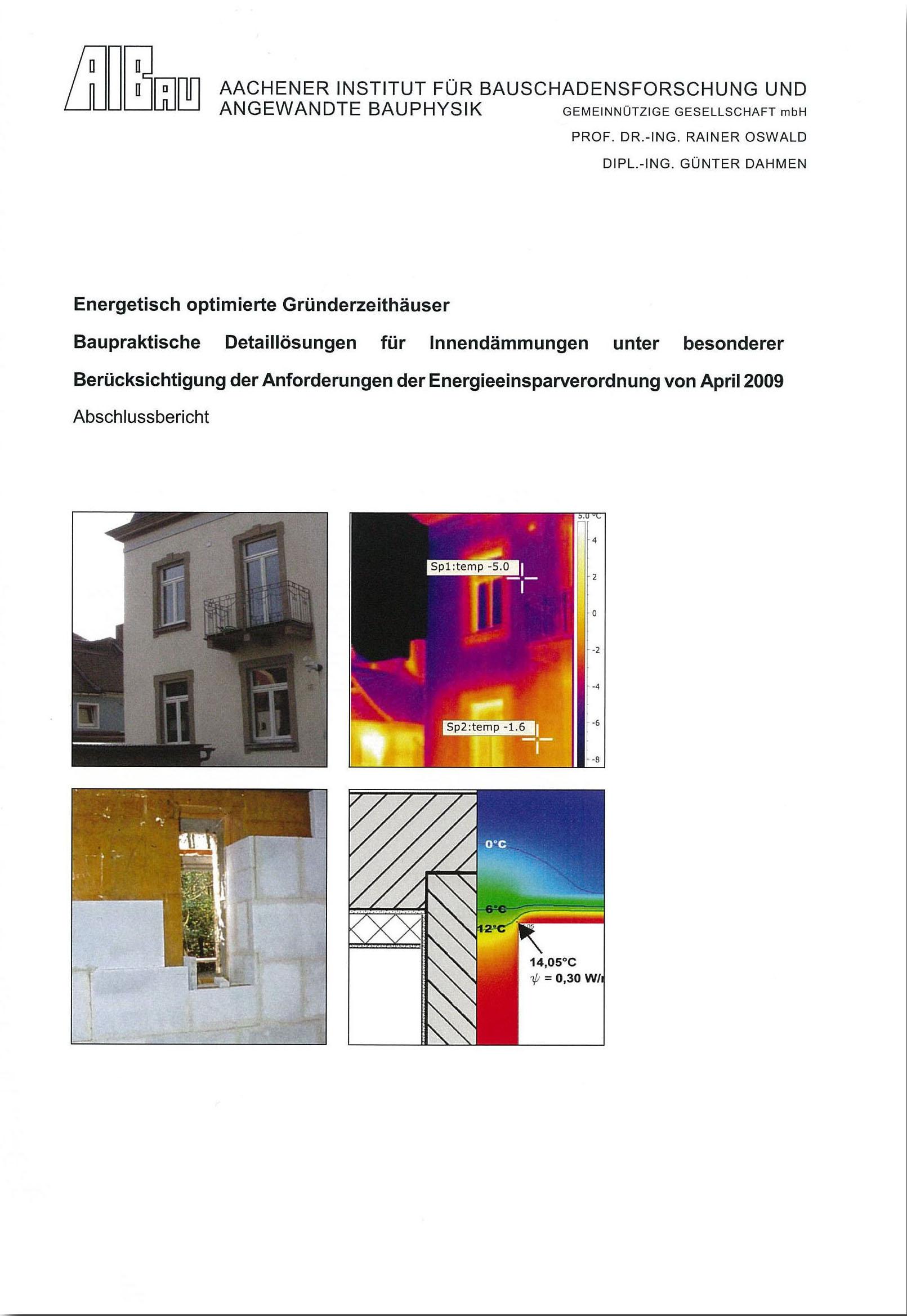 Forschungsbericht: Energetisch optimierte Gründerzeithäuser - Coverbild