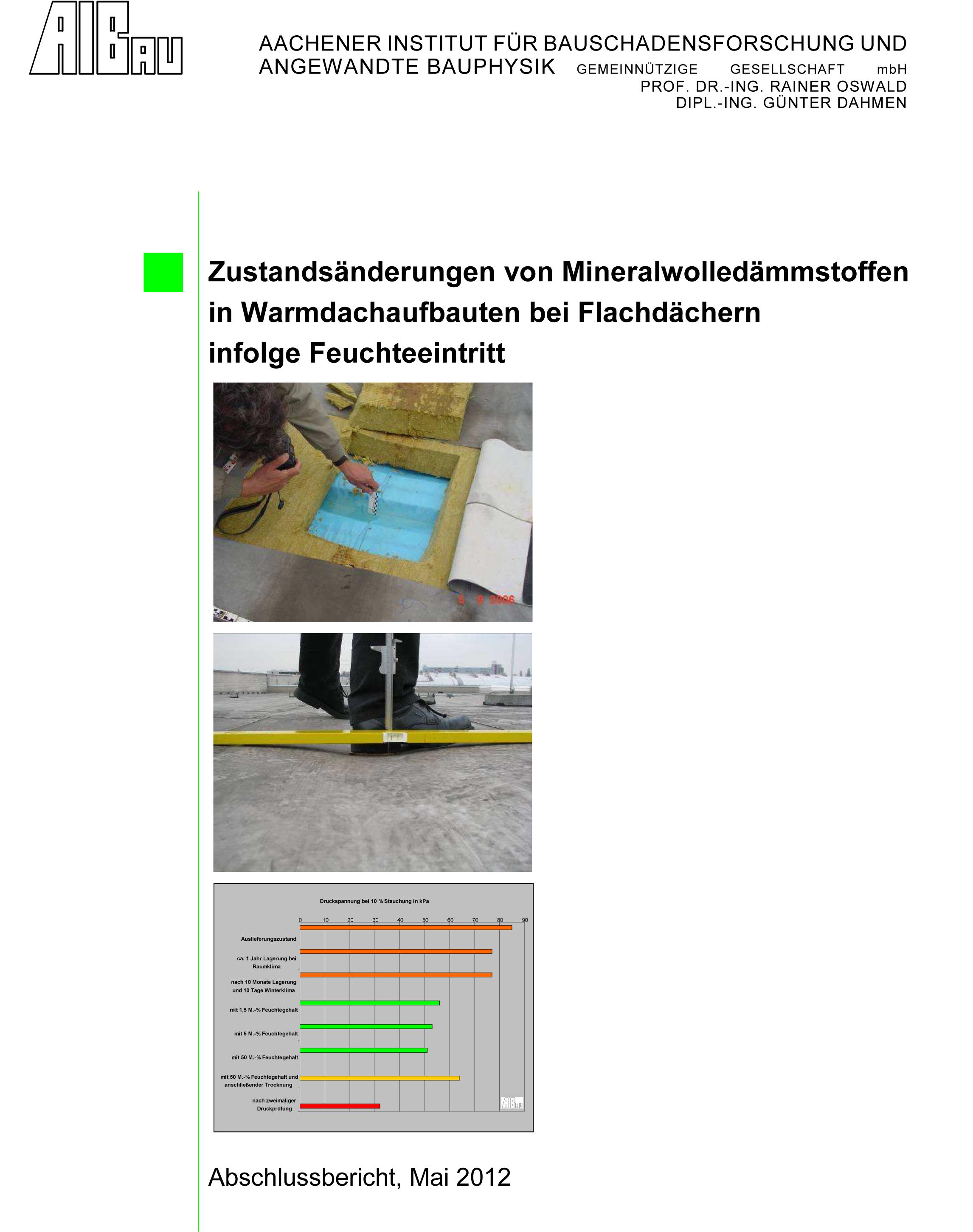 Forschungsbericht: Zustandsänderung von Minerawolledämmstoffen in Warmdachaufbauten bei Flachdächern infolge Feuchteeintritt - Coverbild