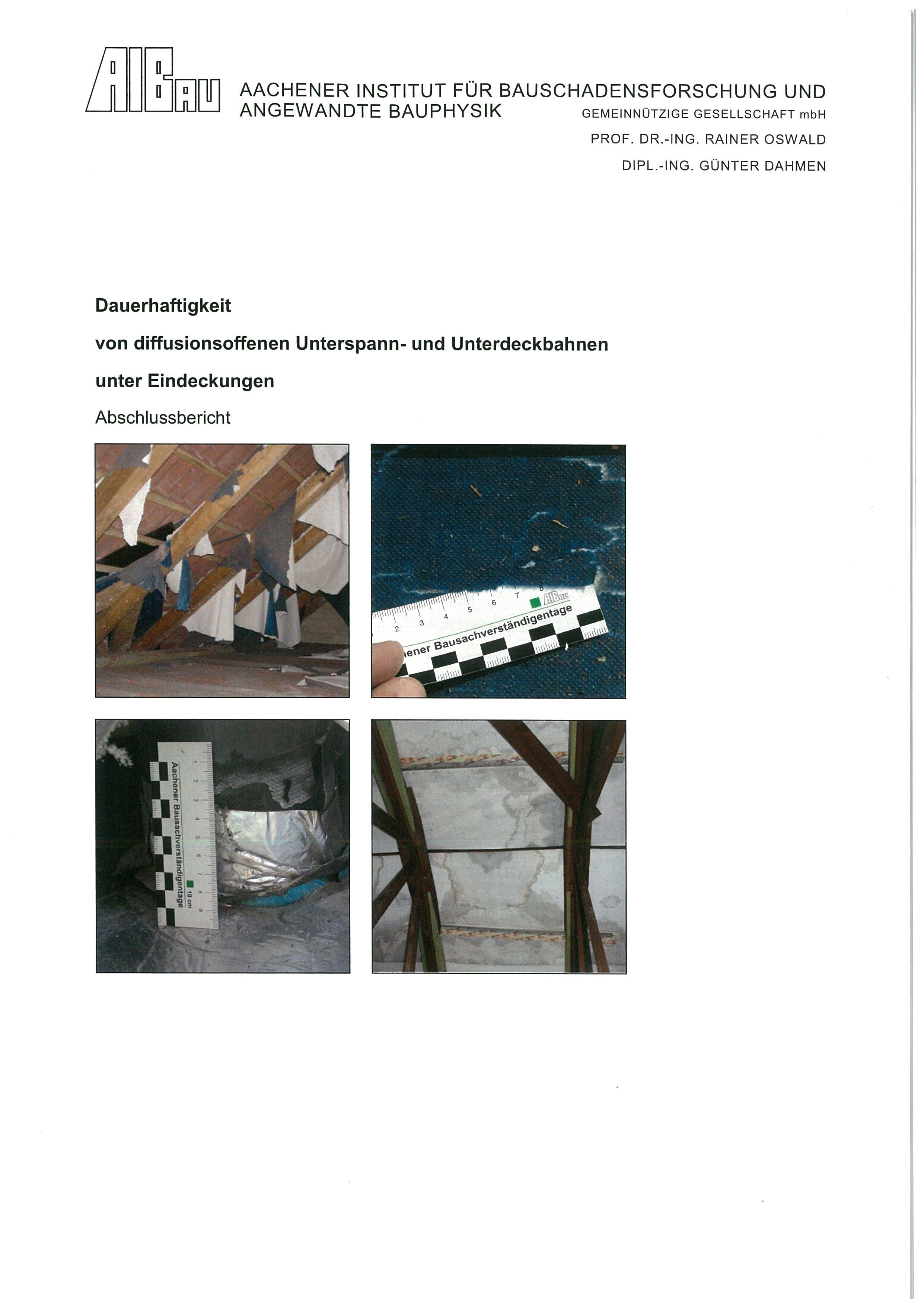 Forschungsbericht: Dauerhaftigkeit von diffusionsoffenen Unterspann- und Unterdeckbahnen unter Eindeckungen - Coverbild
