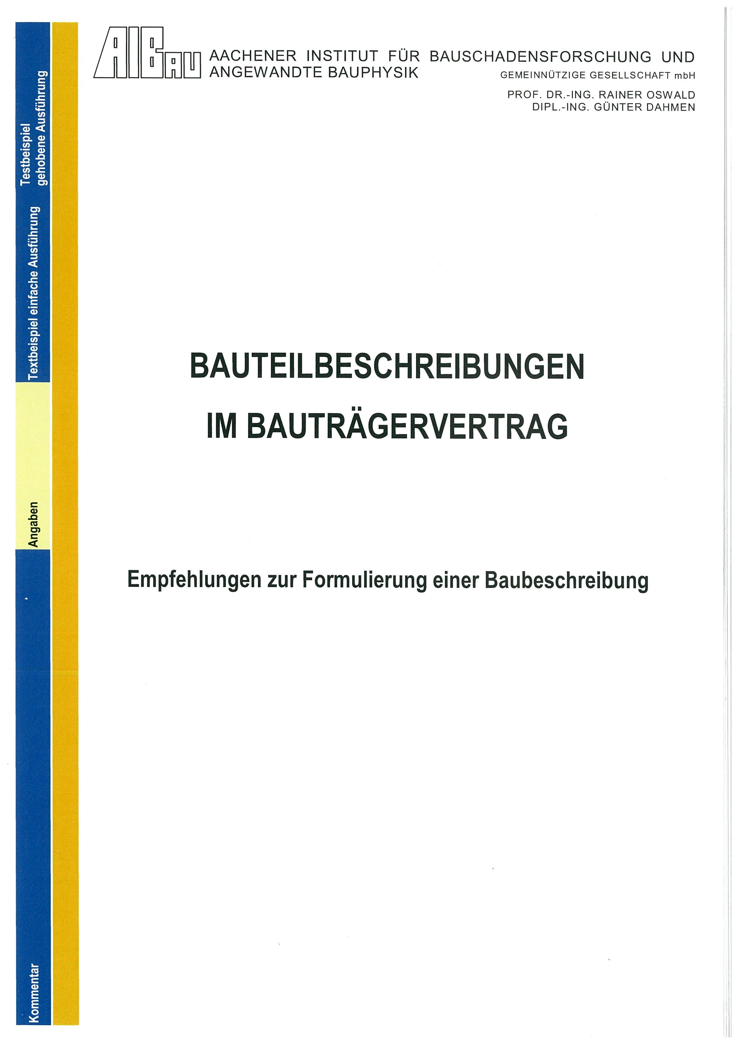 Forschungsbericht: Bauteilbeschreibung im Bauträgervertrag - Coverbild