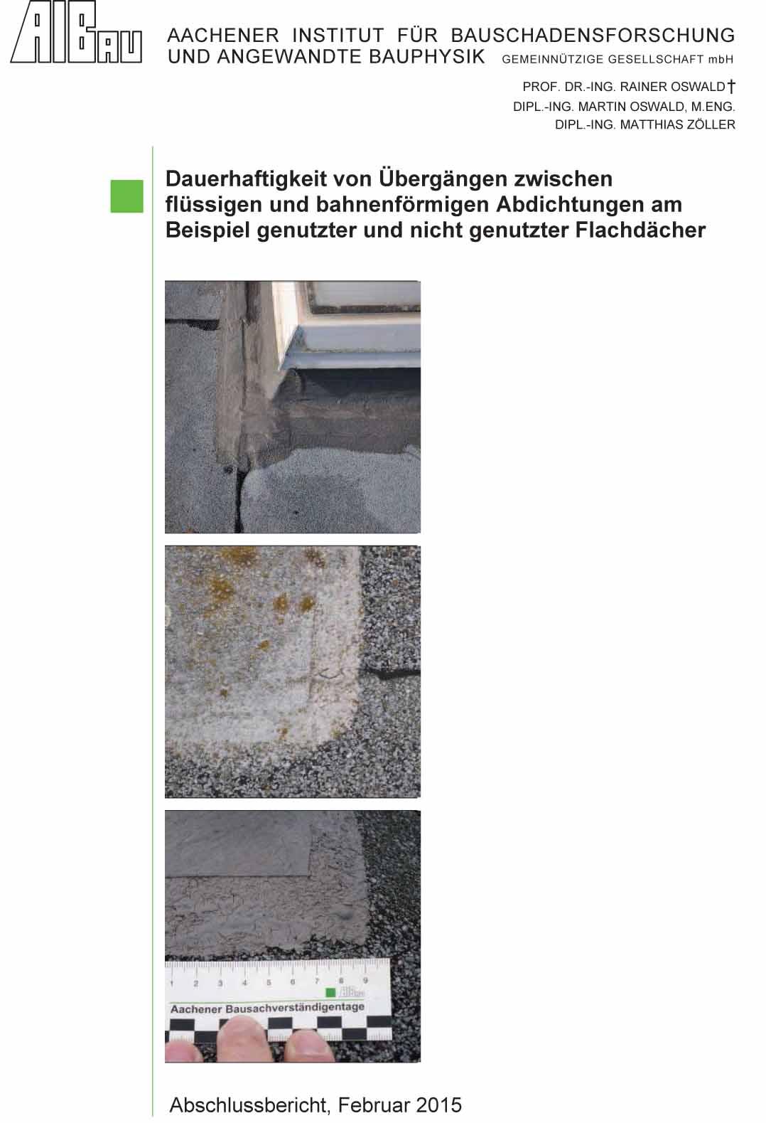 Veröffentlichung: Dauerhaftigkeit von Übergängen zwischen flüssigen und bahnenförmigen Abdichtungen - Coverbild
