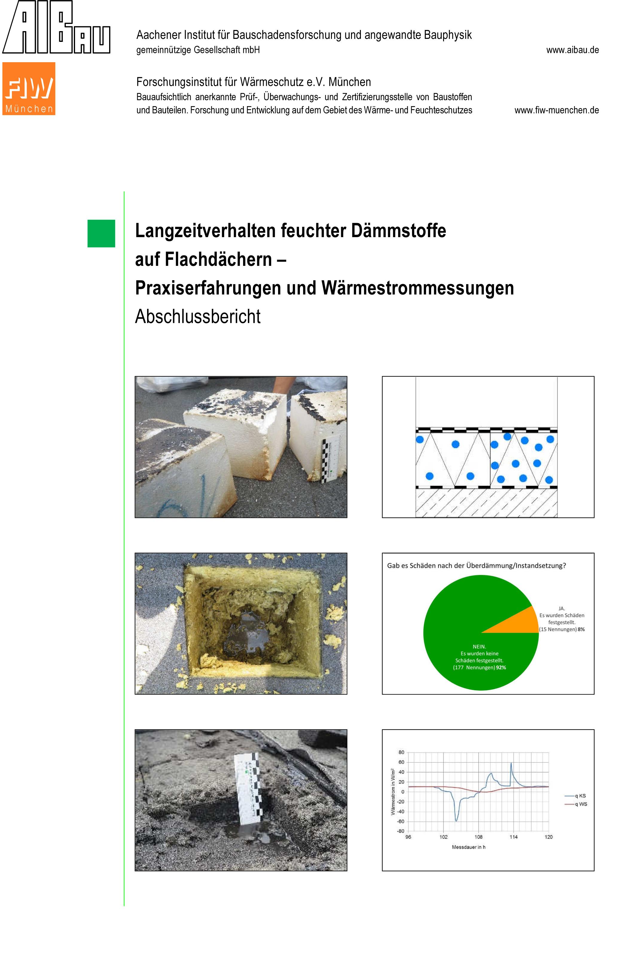 Forschungsbericht: Langzeitverhalten feuchter Dämmstoffe - Coverbild