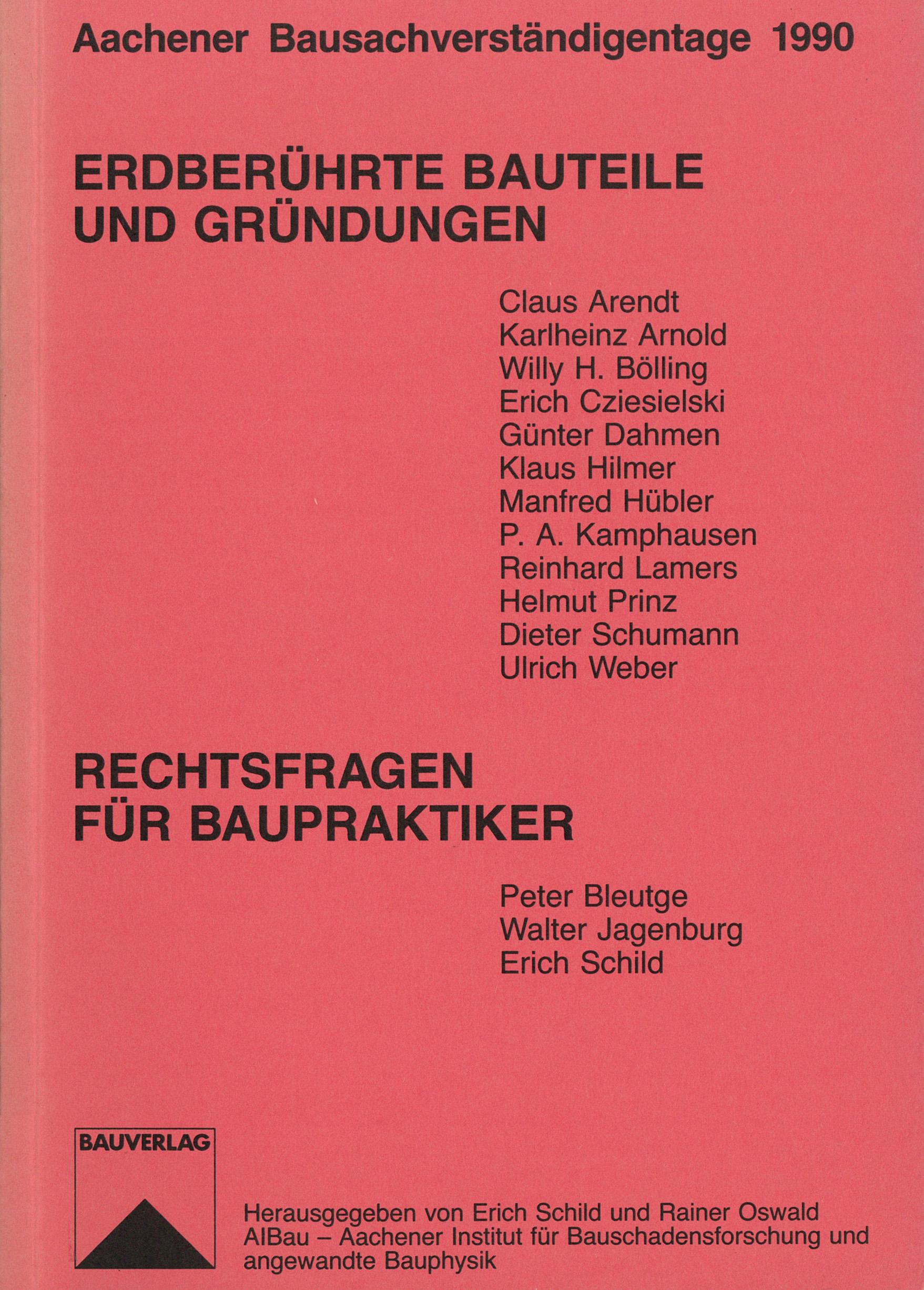 Tagungsband: Erdberührte Bauteile und Gründungen - Coverbild