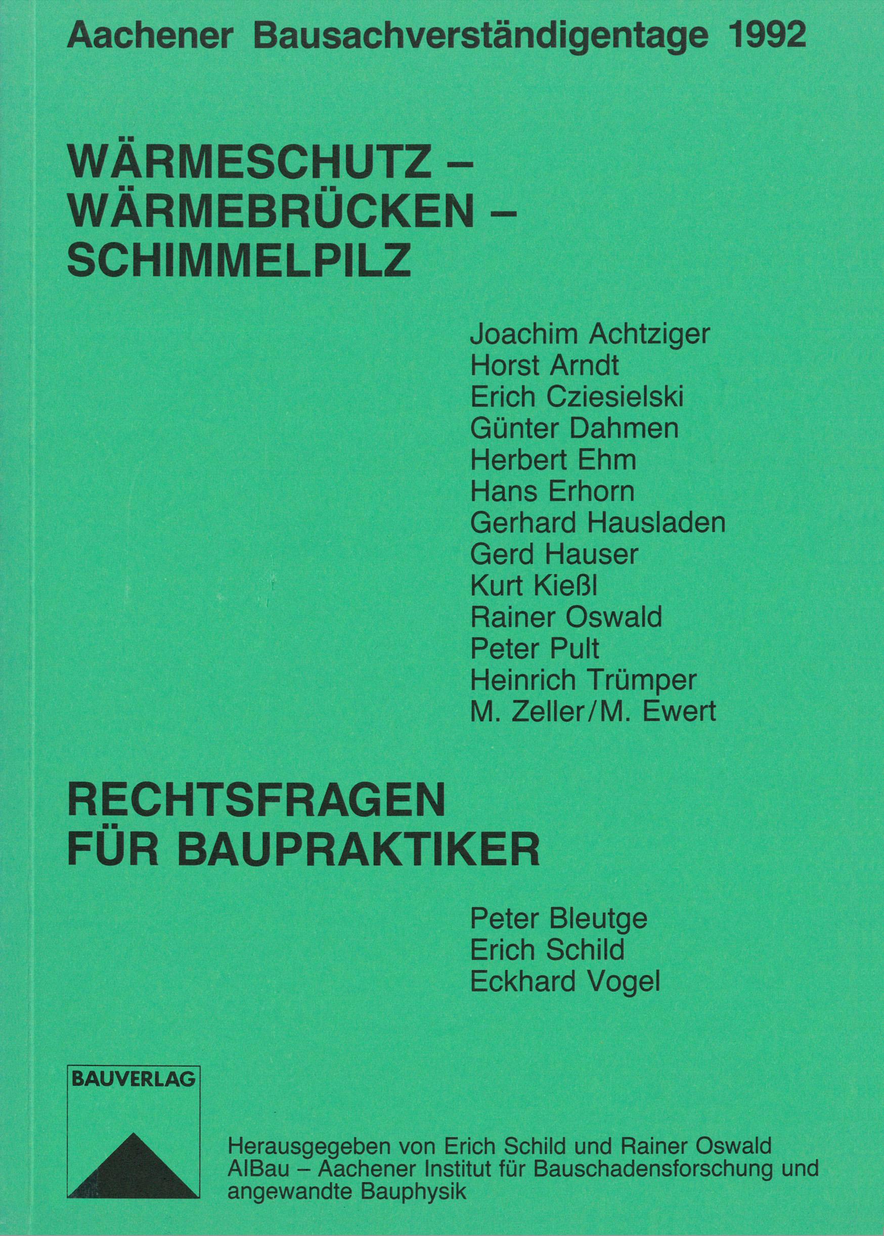 Tagungsband: Wärmeschutz - Wärmebrücken - Schimmelpilz - Coverbild