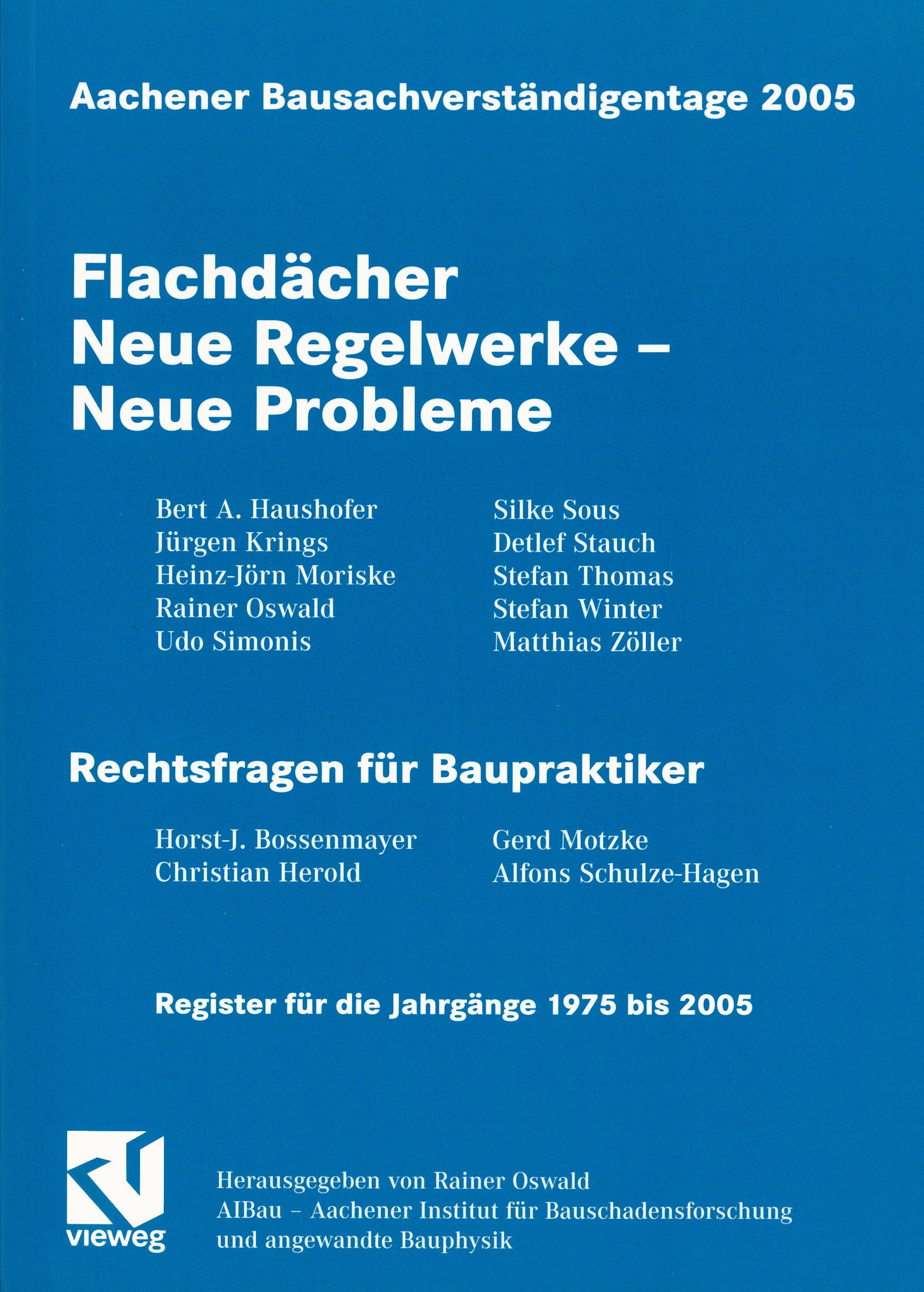 Tagungsand: Flachdächer Neue Regelwerke - Neue Probleme - Coverbild