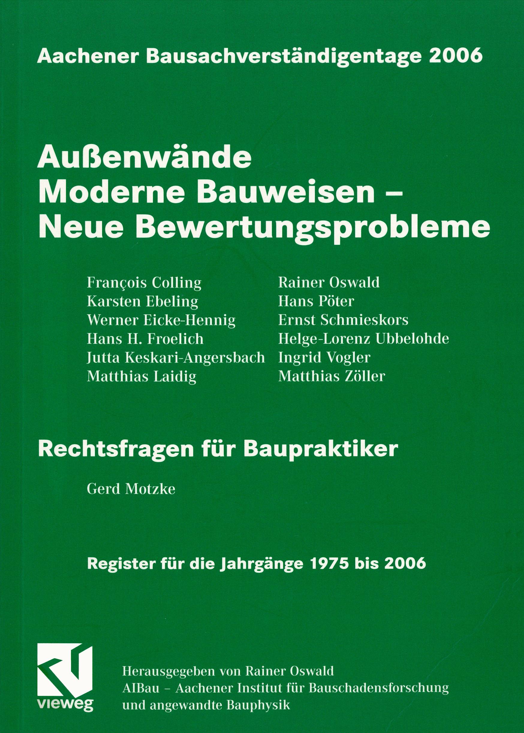 Tagungsband: Außenwände: Moderne Bauweisen - Neue Bewertungsprobleme - Coverbild