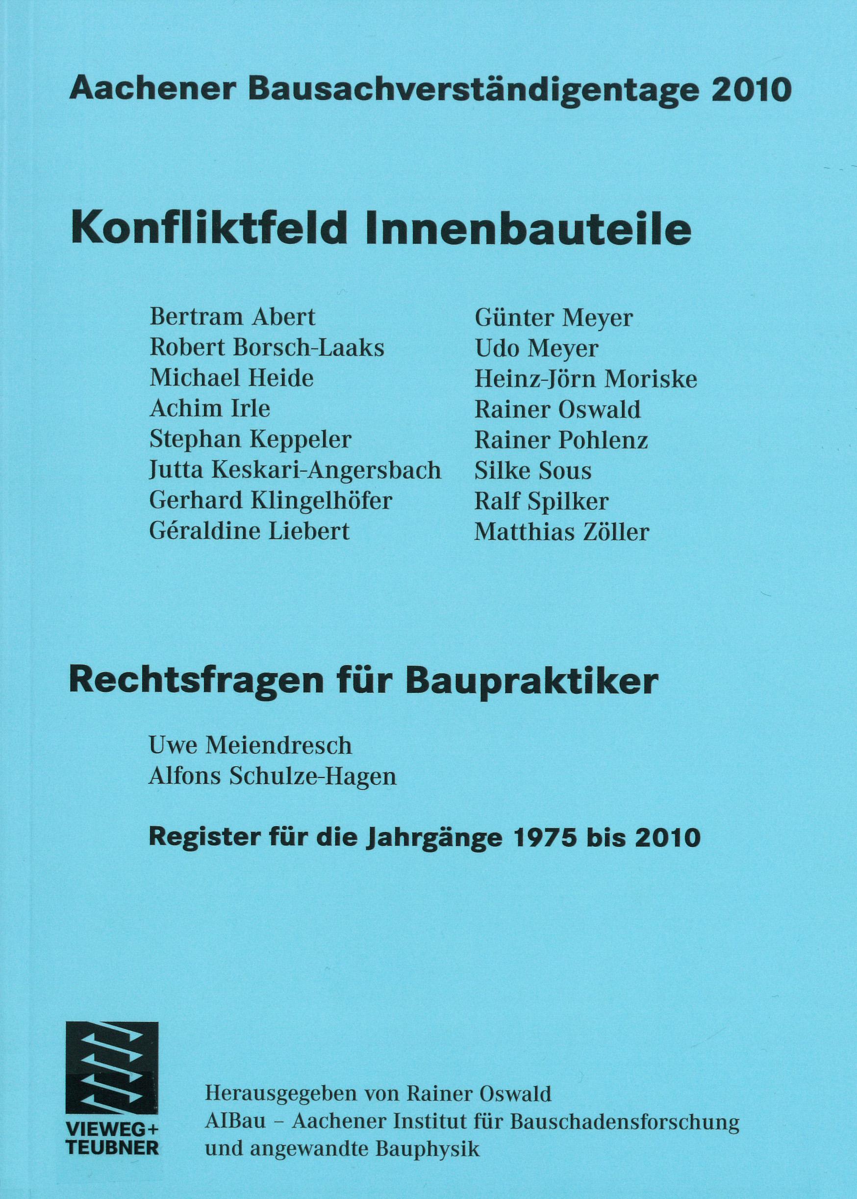 Tagungsband: Konfliktfeld Innenbauteile - Coverbild