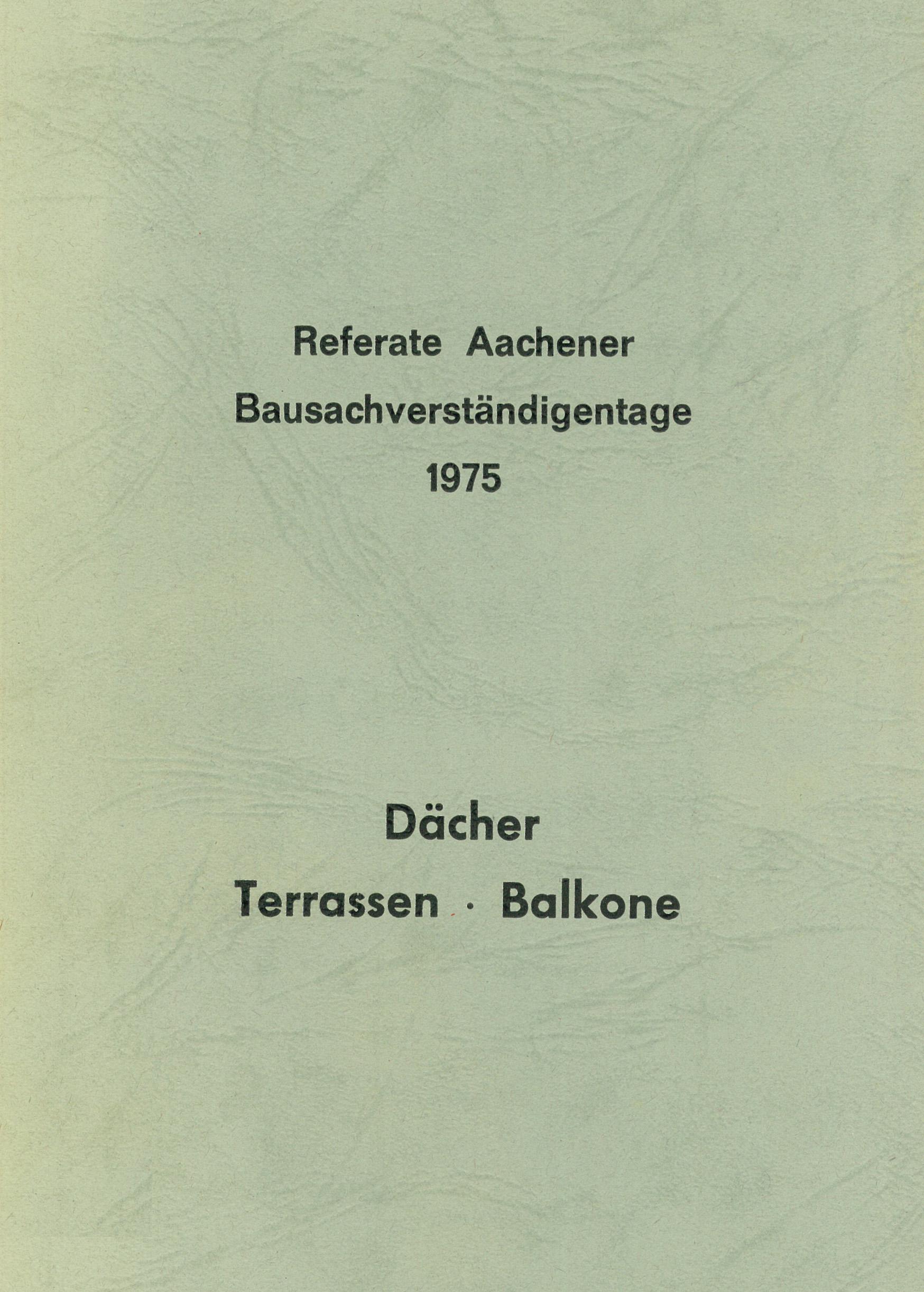 Tagungsband: Dächer, Terassen, Balkone - Coverbild