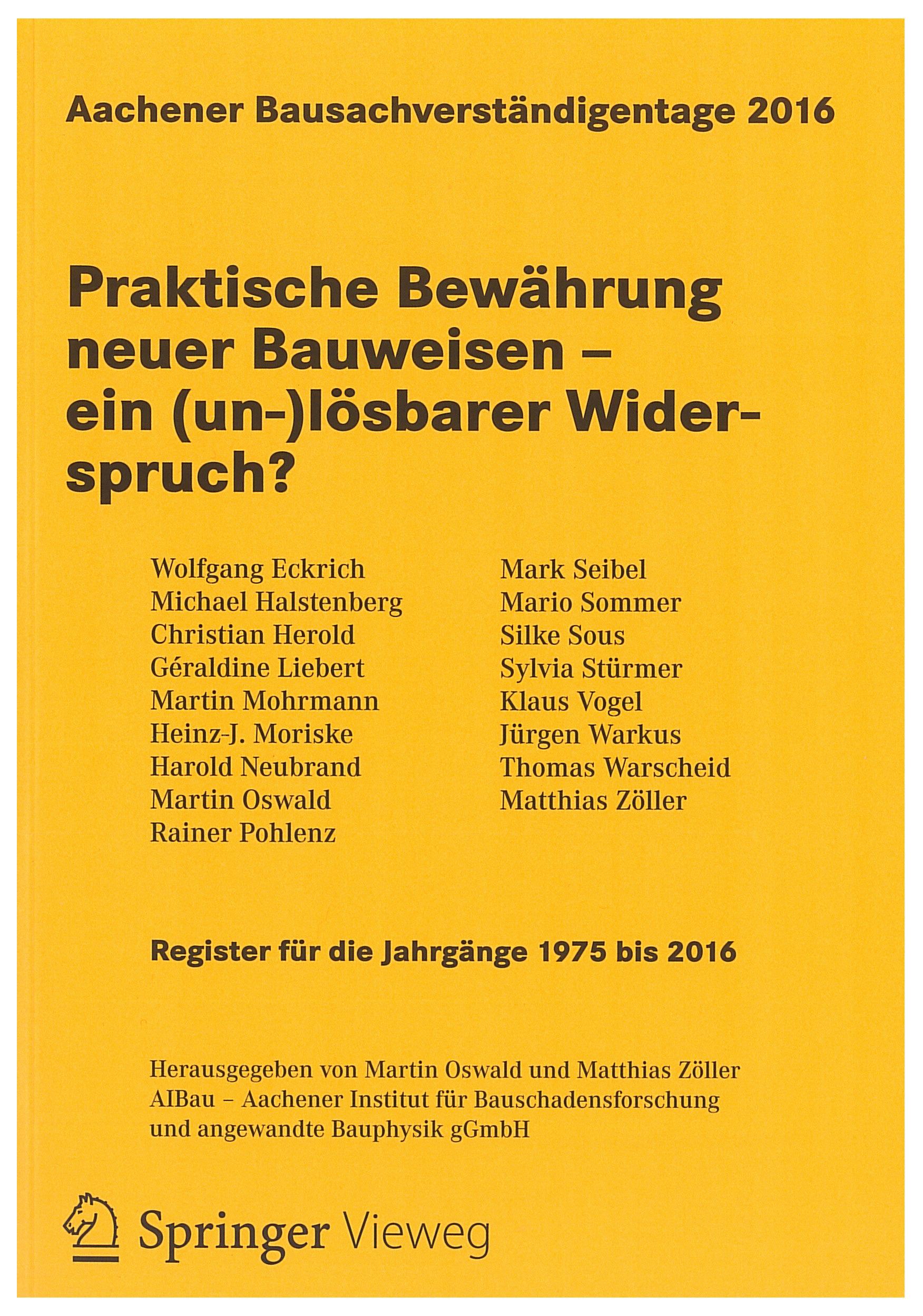 Tagungsband: Praktische Bewährung neuer Bauweisen - ein (un-)lösbarer Widerspruch? - Coverbild